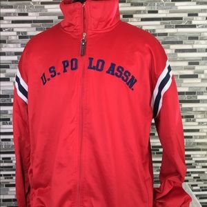 MENS RED POLO TRACK JACKET